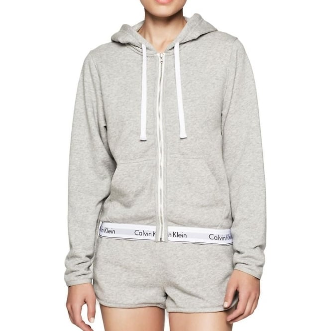 calvin klein women modern cotton zip hoody grey. Black Bedroom Furniture Sets. Home Design Ideas