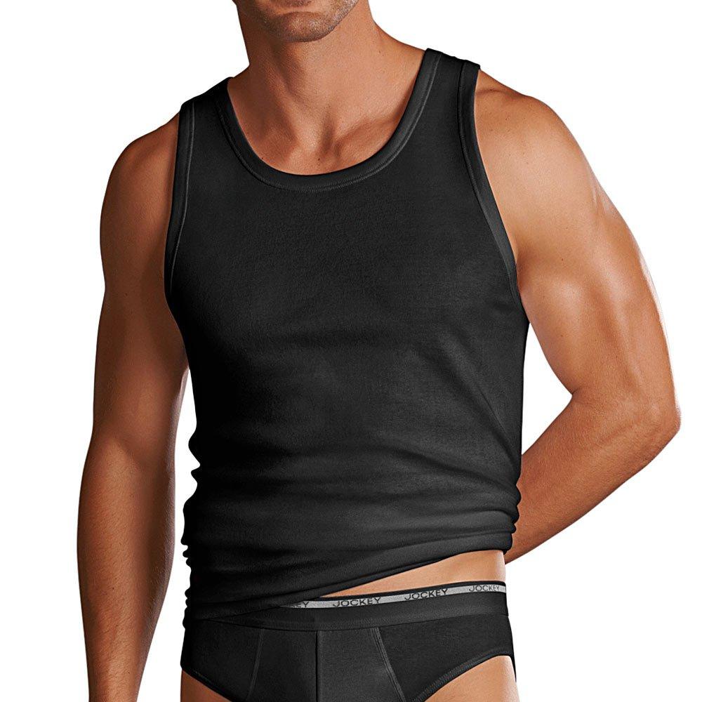Jockey Mens Modern Classic 2 Pack Athletic Shirt Black Or