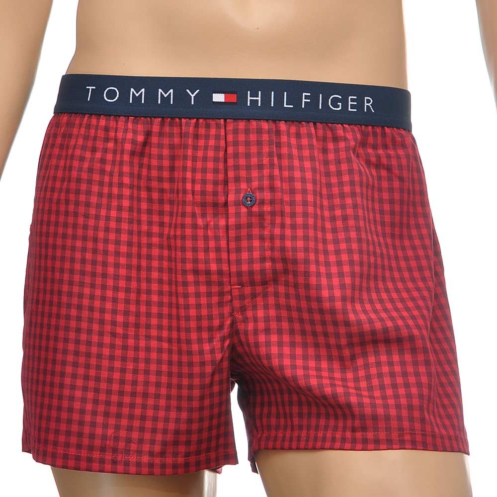 tommy hilfiger flag woven boxer short red check. Black Bedroom Furniture Sets. Home Design Ideas