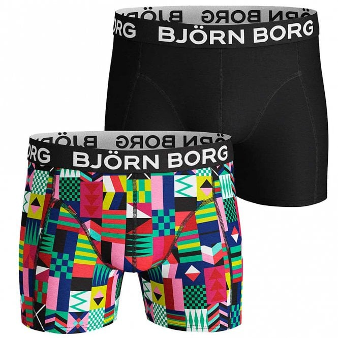 Bjorn Borg 2 Pack Sammy BB Geo Flag Combed Cotton Shorts, Mint Leaf
