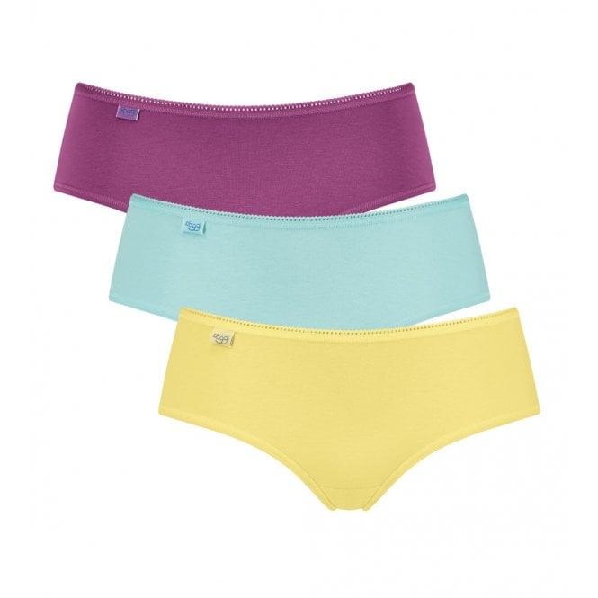 Sloggi Women 24/7 Cotton Hipster Brief 3-Pack, Yellow/Turquoise/Purple