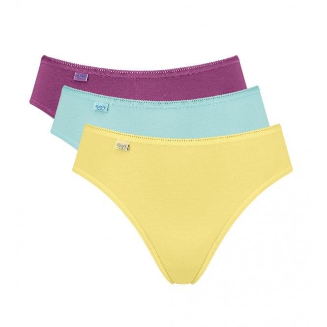 Sloggi 24/7 Cotton Tai Brief 3-Pack, Yellow/Turquoise/Purple