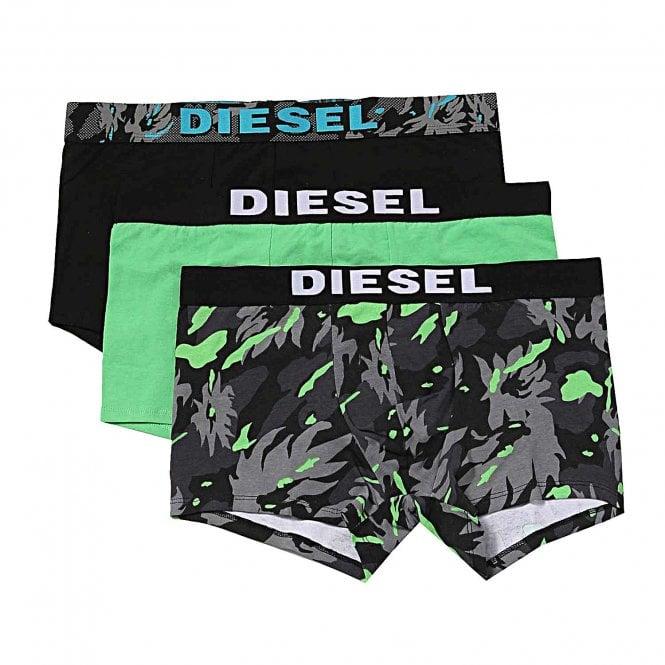 DIESEL 3-Pack Boxer Trunk UMBR-Andre, Black / Green / Camouflage Print
