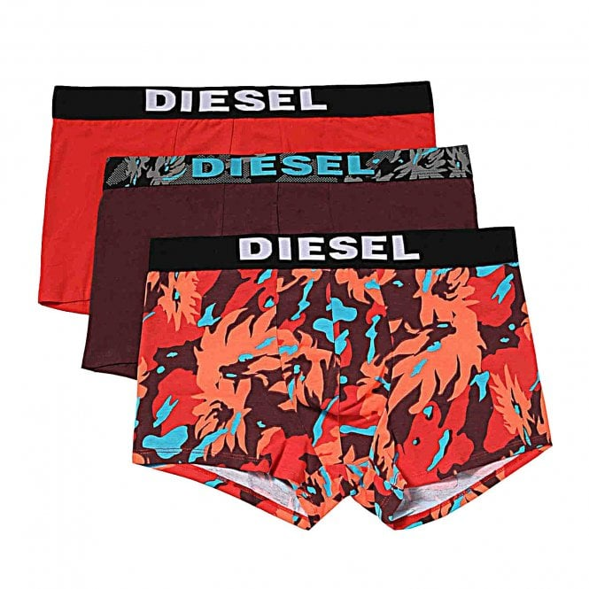 DIESEL 3-Pack Boxer Trunk UMBR-Andre, Red / Aubergine / Camouflage Print