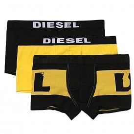 3-Pack Boxer Trunk UMBX-Damien, Yellow / Black / Black With Yellow Logo Print