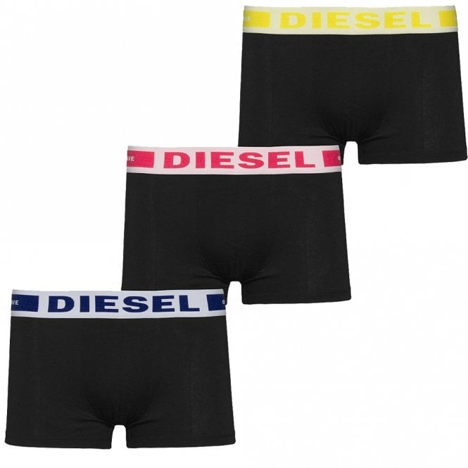 DIESEL 3-Pack Boxer Trunk UMBX-Kory, Black With Blue/Red/Yellow