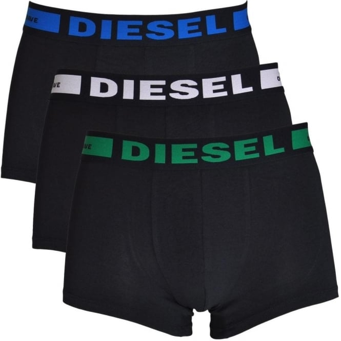 DIESEL 3-Pack Boxer Trunk UMBX-Kory, Black with Green / White / Blue