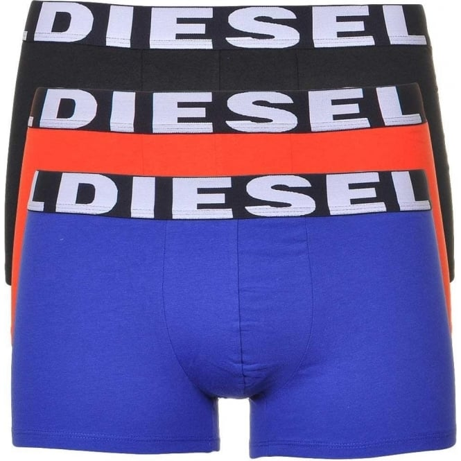 DIESEL 3-Pack Boxer Trunk UMBX-Shawn, Black/Orange/Blue
