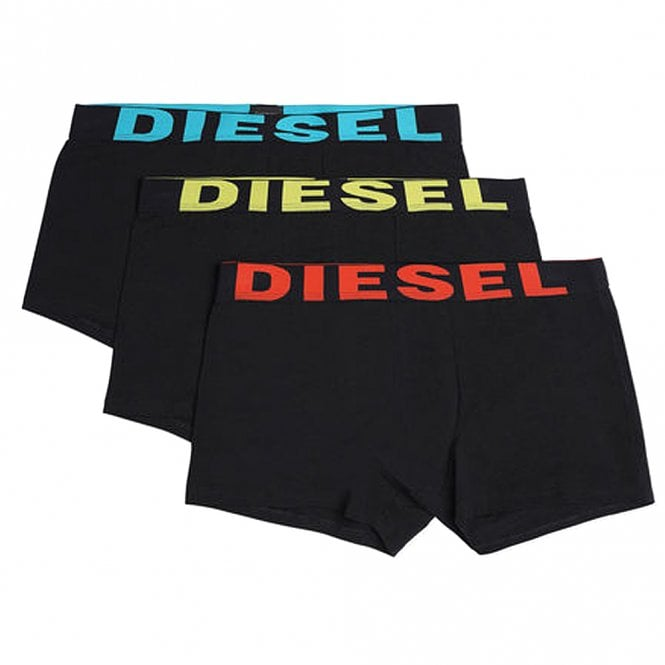 DIESEL 3-Pack Boxer Trunk UMBX-Shawn, Black With Blue/Yellow/Orange