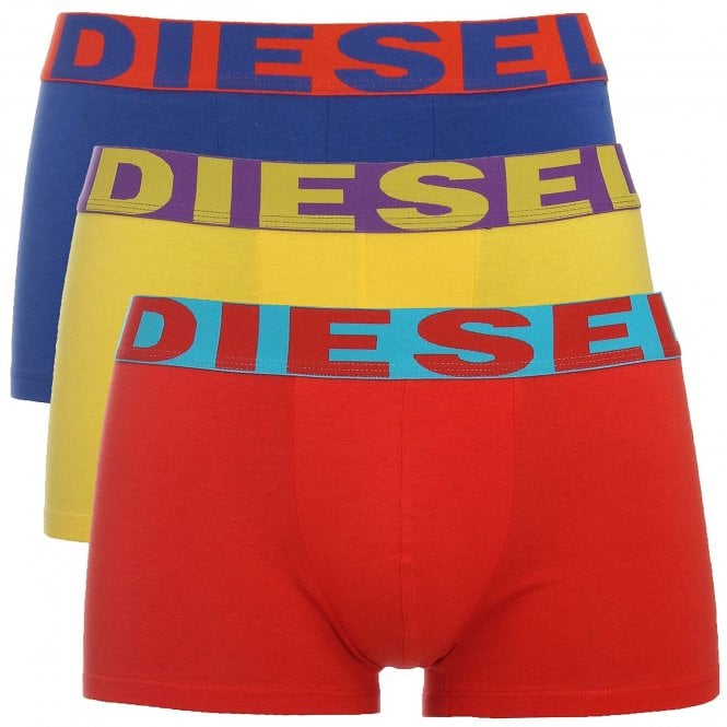 DIESEL 3-Pack Boxer Trunk UMBX-Shawn, Red / Yellow / Blue