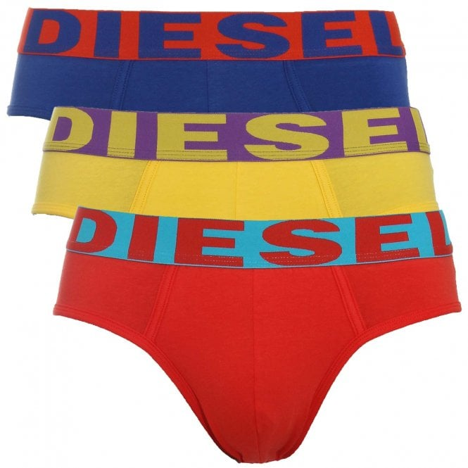 DIESEL 3-Pack Brief UMBR-Andre, Red / Yellow / Blue