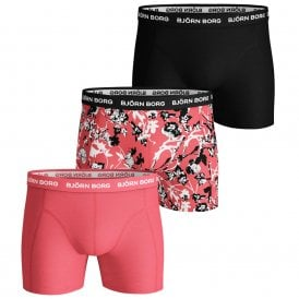 3 Pack Sammy BB Fleur De Jardin Cotton Stretch Shorts, Sugar Coral