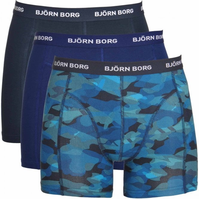Bjorn Borg 3 Pack Shadeline Shorts, Navy / Print / Blue