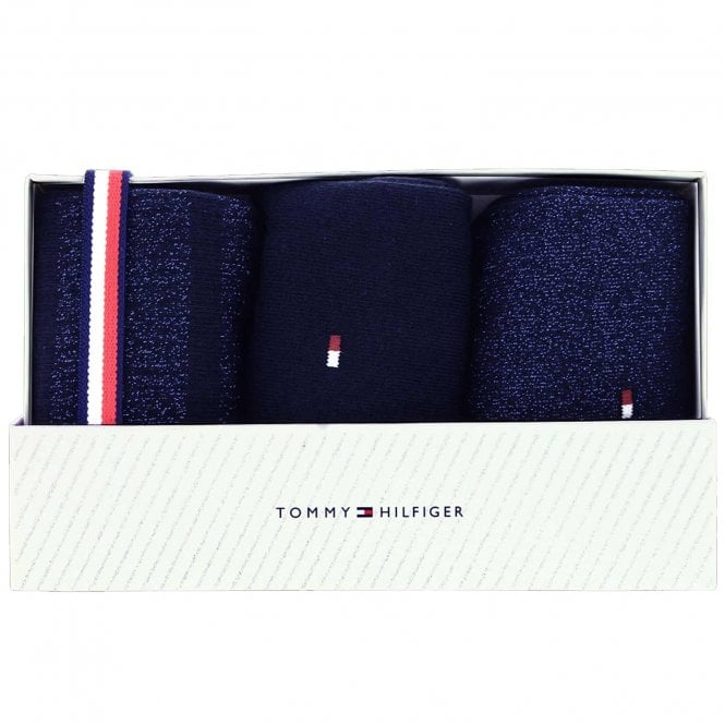 Tommy Hilfiger 3 Pack Sparkle Socks Gift Box, Navy / Blue