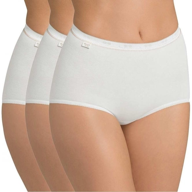Sloggi Women Basic+ 3 Pack Maxi Gold Limited Edition Brief, White
