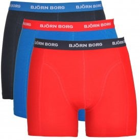 3 Pack Contrast Solid Essential Shorts, Blue / Red / Navy