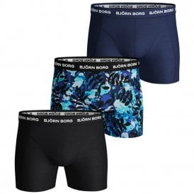 3 Pack Essential Shorts, Black / Print / Blue
