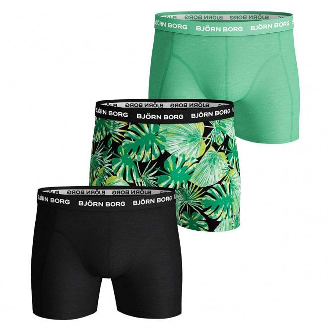 Bjorn Borg 3 Pack Essential Shorts, Black / Print / Green