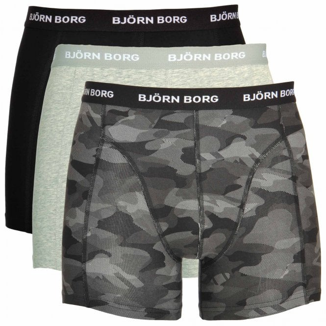 Bjorn Borg 3 Pack Shadeline Shorts, Black / Camo Print / Grey