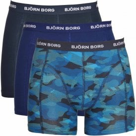 3 Pack Shadeline Shorts, Navy / Print / Blue