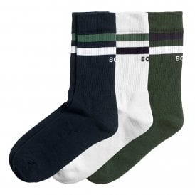 Double Stripe 3-Pack Cotton Socks, Night Sky