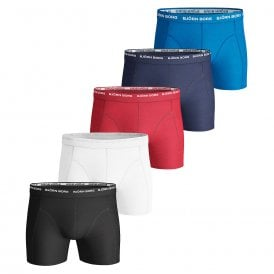 Essential 5 Pack Shorts, Black / White / Red / Navy / Blue