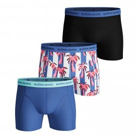 Essential Palmstripe 3 Pack Shorts, Ultramarine