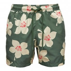 Sylvester Loose Swim Shorts, Graphic Floral Duck Green