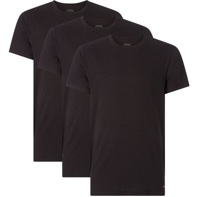 Calvin Klein Cotton 3-Pack Short Sleeved Crew Neck T-Shirt, Black