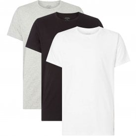 Cotton 3-Pack Short Sleeved Crew Neck T-Shirt, Black/White/Grey