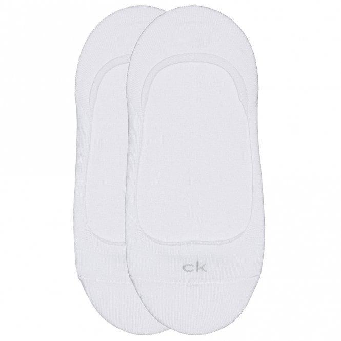 Calvin Klein 2 Pack Cotton Logo No Show Liner Socks, White