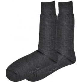 2-Pack Fine Rib Wool Socks, Charcoal