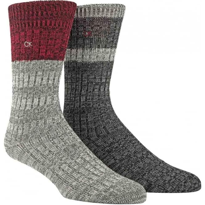 Calvin Klein 2-Pack Jeans Crew Socks Gift Box, Grey / Red