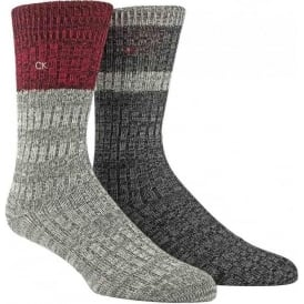 2-Pack Jeans Crew Socks Gift Box, Grey / Red