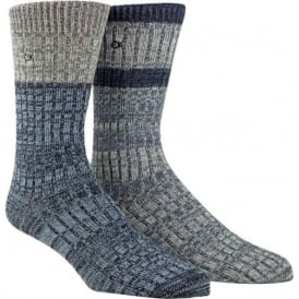 2-Pack Jeans Crew Socks Gift Box, Navy / Grey