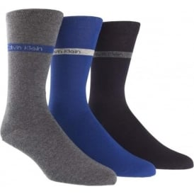 3 Pack Bamboo Band Logo Bamboo Socks, Navy / Blue / Grey