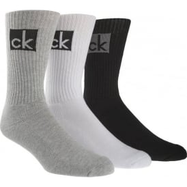 3 Pack Cotton Cushion Logo Socks, Black / White / Grey