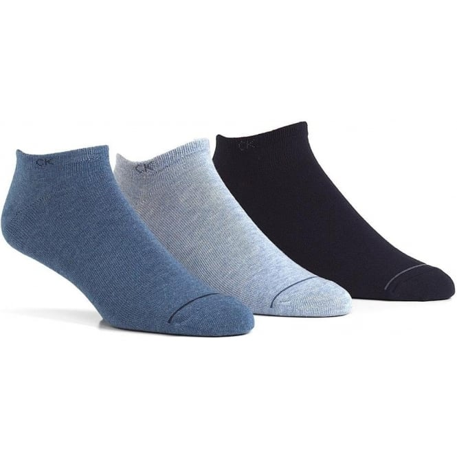 Calvin Klein 3 Pack Logo Liner Socks, Blues