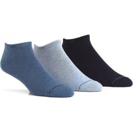 3 Pack Logo Liner Socks, Blues