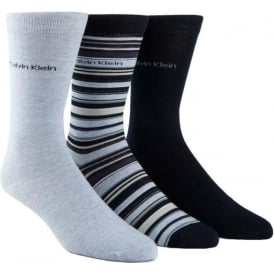 3 Pack Multi Stripe Socks Gift Box, Blues