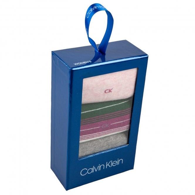 Calvin Klein 3 Pack Sparkle Stripe Crew Socks Gift Box, Grey / Pink / Stripe