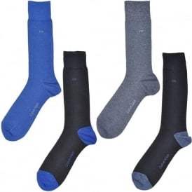4 Pack Cotton Logo Socks, Black/Blue