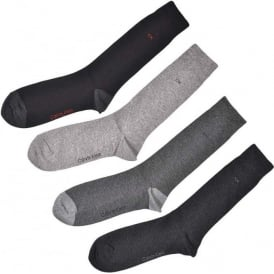 4 Pack Cotton Logo Socks, Black/Grey