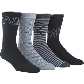 4 Pack Logo Socks Gift Box, Navy