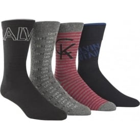 4 Pack Logo Socks Gift Box, Grey