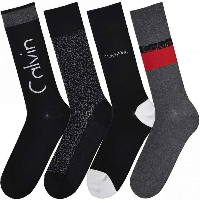 Calvin Klein 4 Pack Multi Logo Socks Gift Box, Grey/Black/Red