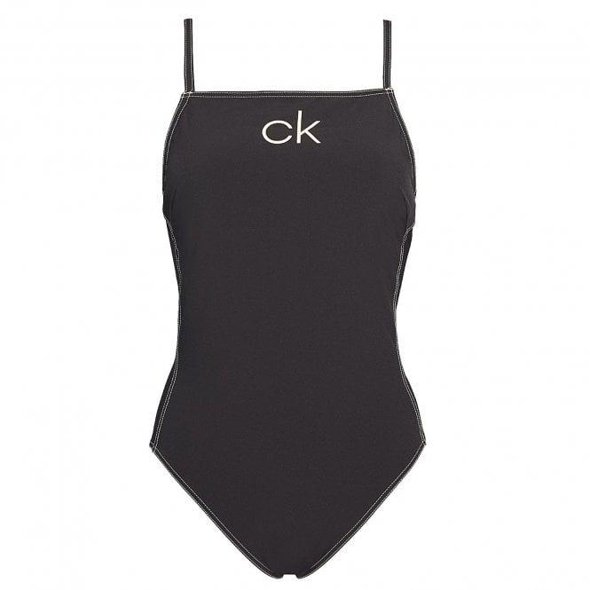 Calvin Klein Apron One Piece Swim Suit, Black