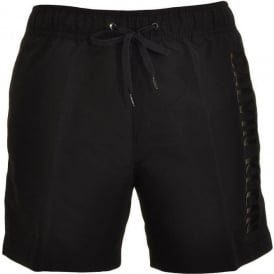 Black Embossed Swim Shorts