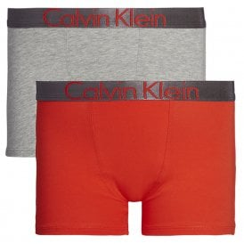 Boys 2 Pack Customized Stretch Boxer Trunk, Heather Grey / Fiery Red