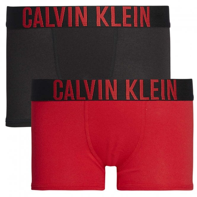 Calvin Klein Boys 2 Pack Intense Power Boxer Trunk, Red / Black
